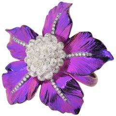 JR 4.08 Carat Diamond Briolette Titanium Flower Ring