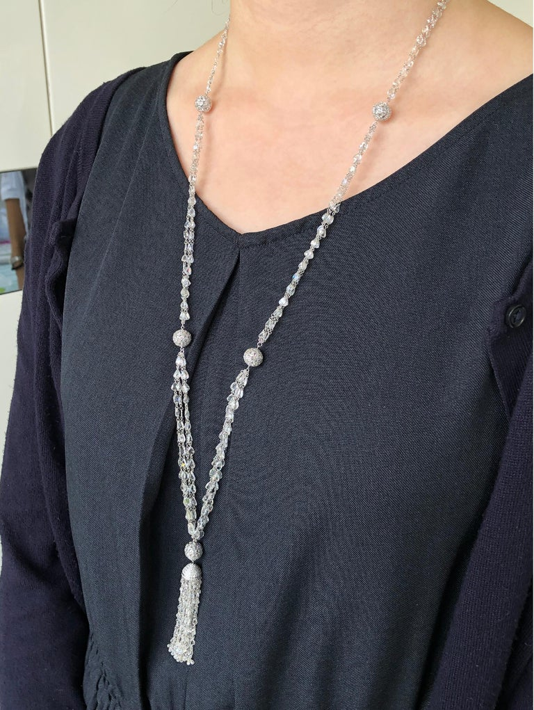 JR 59.63 Carat Rose Cut Diamond Tassel Necklace  This wonderful tassel necklace is enough to make you dazzle as well. They're fun, and they're lively. Drilled Diamond Rose Cut Necklace linked by 18 karat White gold and 59.63 carats of White