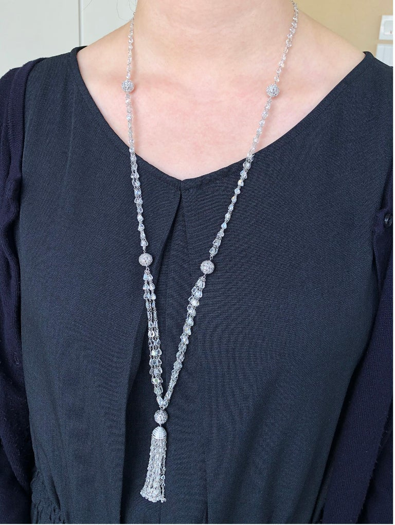 Contemporary JR 59.63 Carat Rose Cut Diamond 18 Karat White Gold Tassel Necklace For Sale