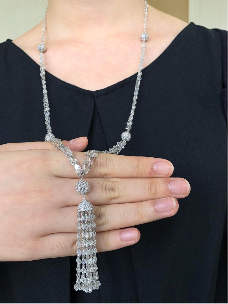 JR 59.63 Carat Rose Cut Diamond 18 Karat White Gold Tassel Necklace In New Condition For Sale In Hong Kong, HK
