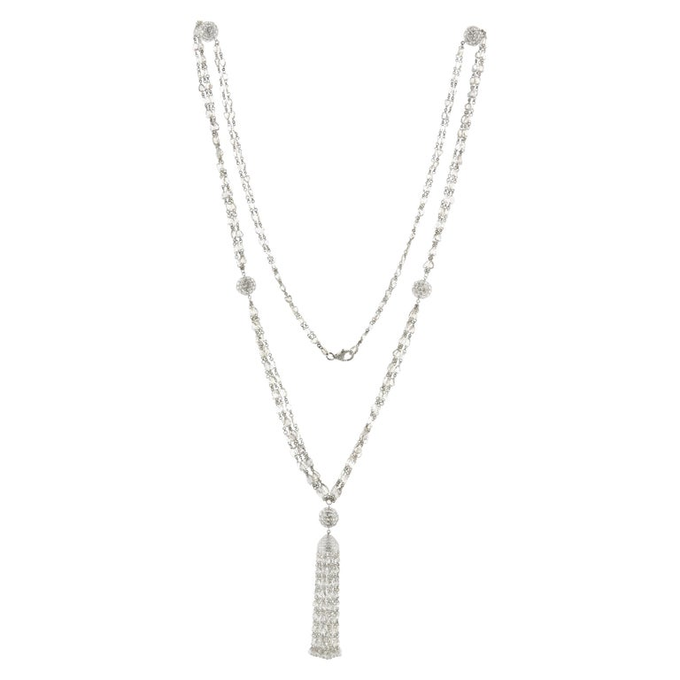 JR 59.63 Carat Rose Cut Diamond 18 Karat White Gold Tassel Necklace For Sale