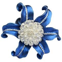 JR 8.10 Carat Diamond Briolette Titanium Flower Ring