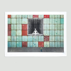 In the Container Wall, Le Havre, France - Contemporary, 21st Century, Lithograph