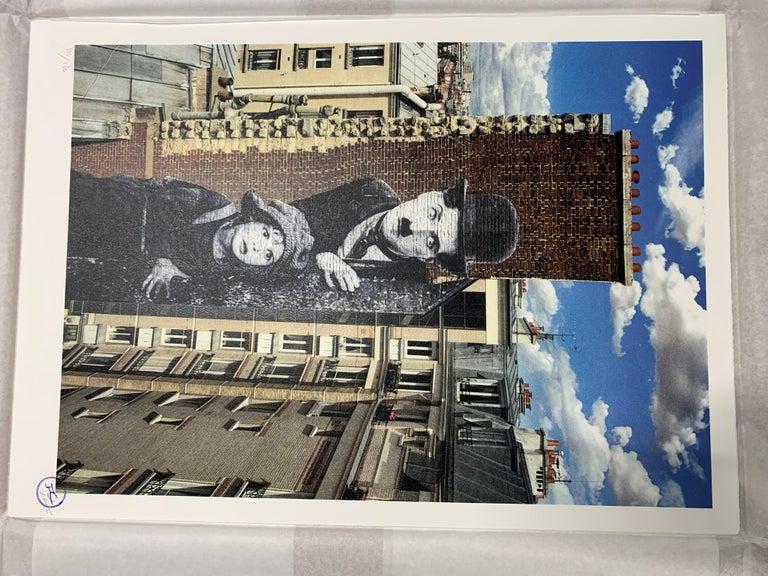 Charlie Chaplin revu par JR, The Kid, Charlie Chaplin & Jackie Coogan - Gray Figurative Print by JR artist