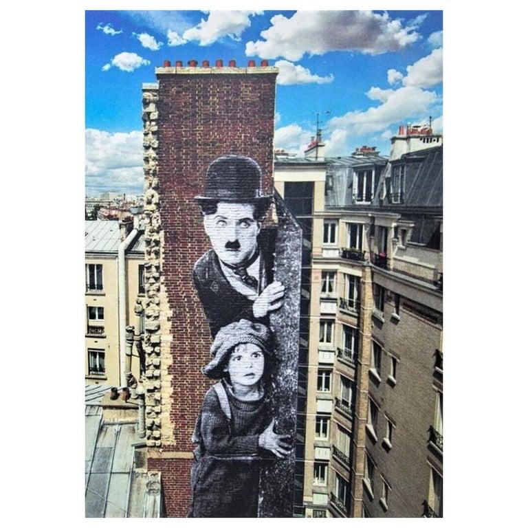 JR artist Figurative Print - Charlie Chaplin revu par JR, The Kid, Charlie Chaplin & Jackie Coogan