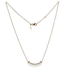 JR Diamond Briolette Dangling Necklace 18 Karat Rose Gold