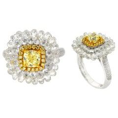 JR Invisible 5.70 Carat Diamond Briolette 18 Karat Gold Ring