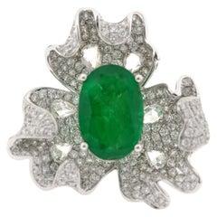 JR Rose Cut Diamond and Emerald Flower 18 Karat White Gold Ring
