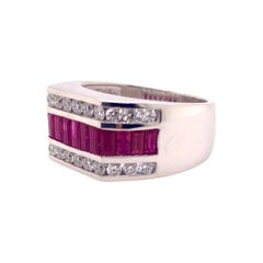 J.Ray Style Ruby Diamond Band Ring in 14k White Gold
