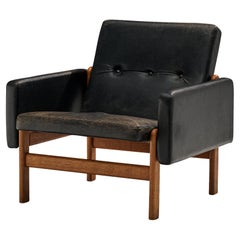 Jørgen Bækmark for FDB Møbler Easy Chair in Oak and Leather