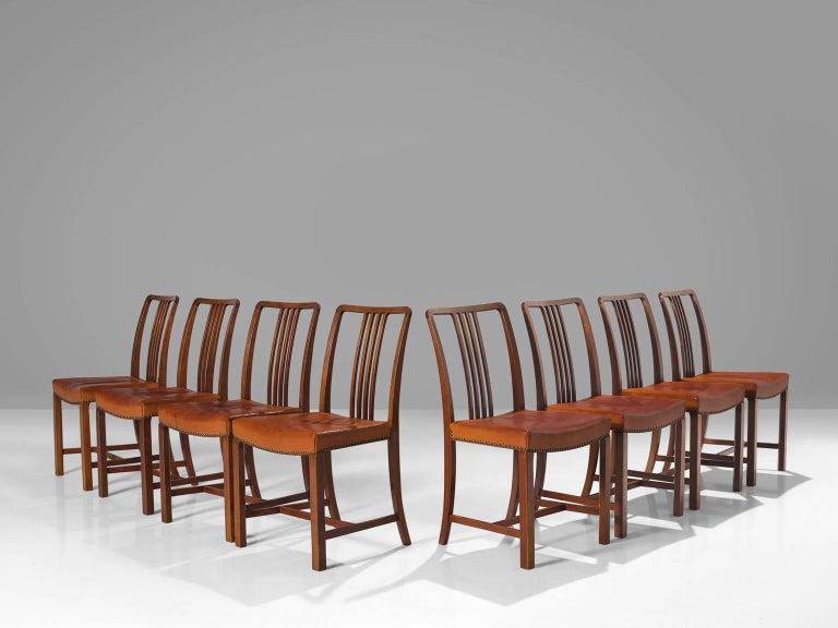 Scandinavian Modern Jørgen Christensen Set of Eight Original Cognac Leather Chairs For Sale