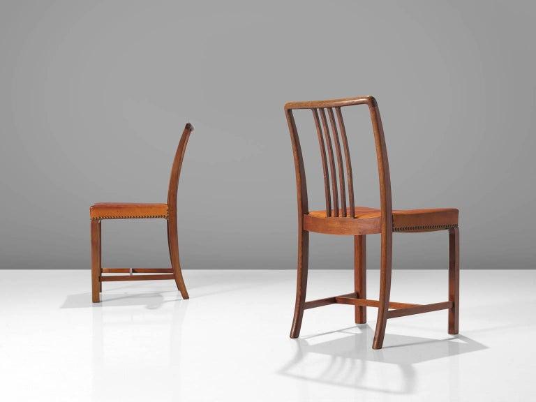 Danish Jørgen Christensen Set of Eight Original Cognac Leather Chairs For Sale