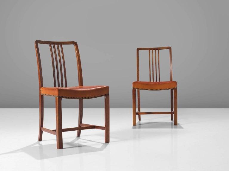 Jørgen Christensen Set of Eight Original Cognac Leather Chairs In Good Condition For Sale In Waalwijk, NL