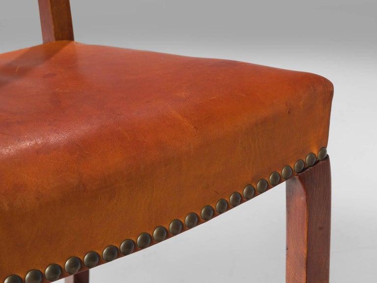 Jørgen Christensen Set of Eight Original Cognac Leather Chairs For Sale 1