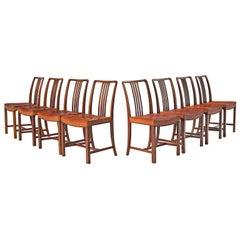Jørgen Christensen Set of Eight Original Cognac Leather Chairs