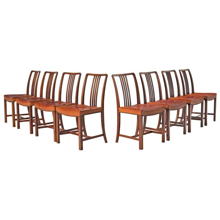 Jørgen Christensen Set of Eight Original Cognac Leather Chairs For Sale