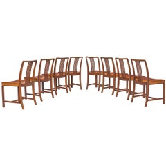 Jørgen Christensens Set of Eight Dining Chairs in Original Cognac Leather