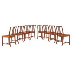 Jørgen Christensens Set of Eight Dining Chairs in Original Cognac Leather