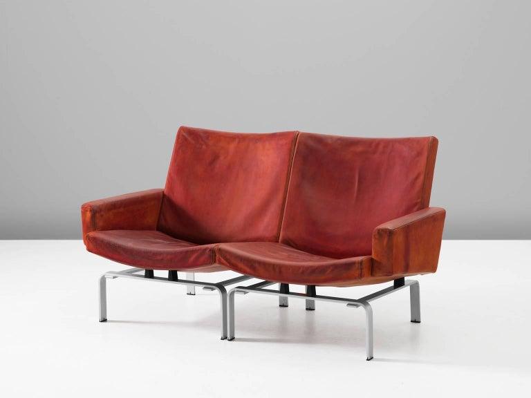Scandinavian Modern Jørgen Høj Cognac Leather Two-Seat Sofa For Sale