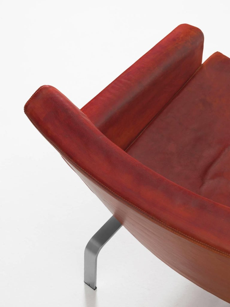 Mid-20th Century Jørgen Høj Cognac Leather Two-Seat Sofa For Sale