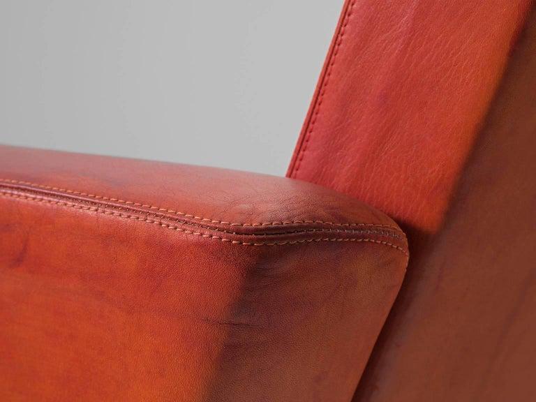 Aluminum Jørgen Høj Cognac Leather Two-Seat Sofa For Sale