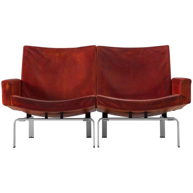 Jørgen Høj Cognac Leather Two-Seat Sofa For Sale