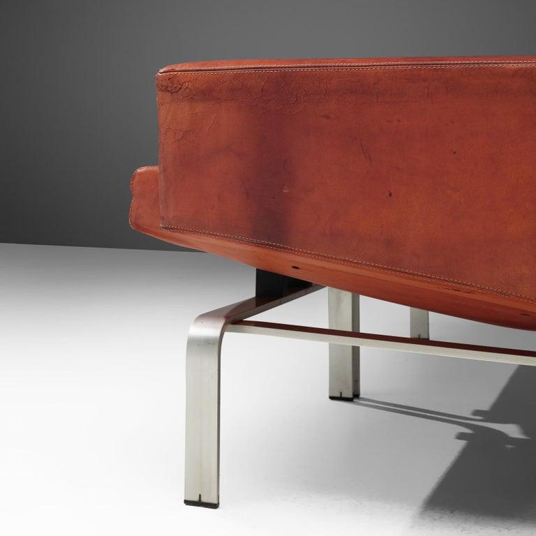 Scandinavian Modern Jorgen Hoj Niels Vitsoøe Sofa '202' in Red Leather and Steel For Sale