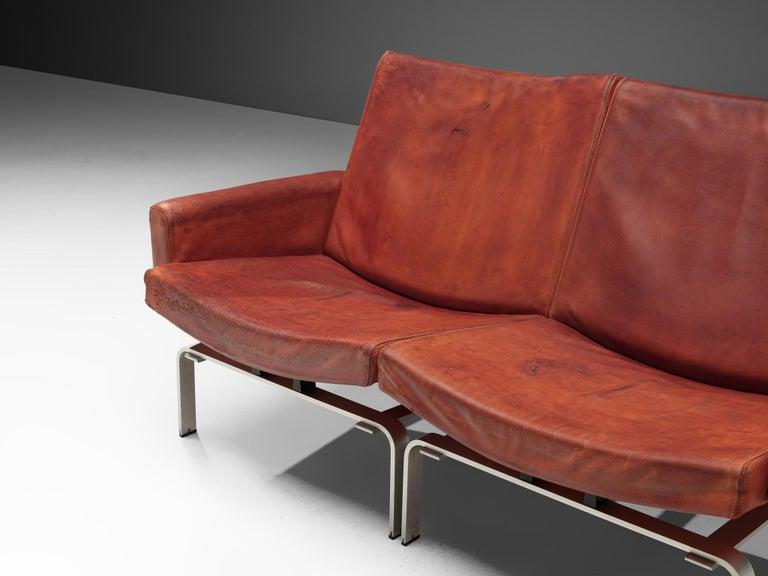 Danish Jorgen Hoj Niels Vitsoøe Sofa '202' in Red Leather and Steel For Sale
