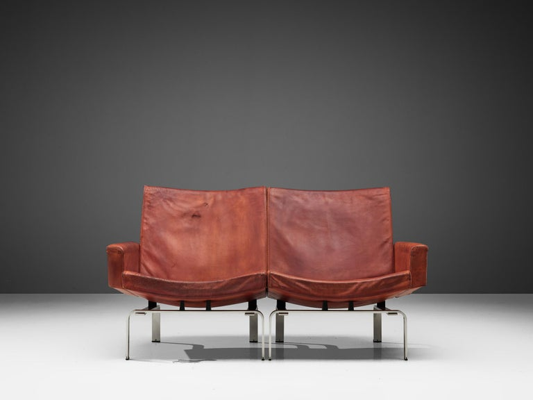 Jorgen Hoj Niels Vitsoøe Sofa '202' in Red Leather and Steel In Fair Condition For Sale In Waalwijk, NL