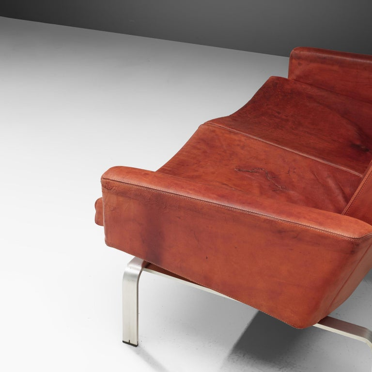Mid-20th Century Jorgen Hoj Niels Vitsoøe Sofa '202' in Red Leather and Steel For Sale
