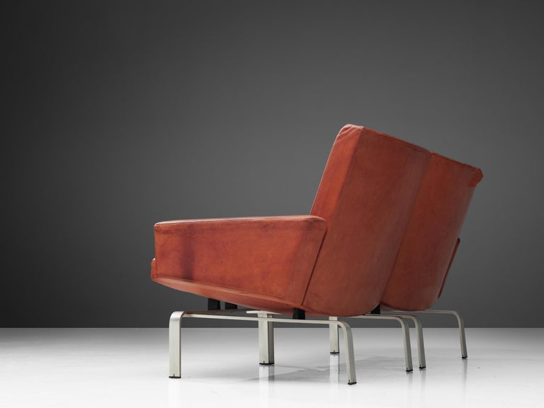 Aluminum Jorgen Hoj Niels Vitsoøe Sofa '202' in Red Leather and Steel For Sale
