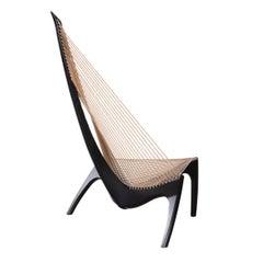 Jørgen Høvelskov Black Harp Lounge Chair for Jørgen Christensens