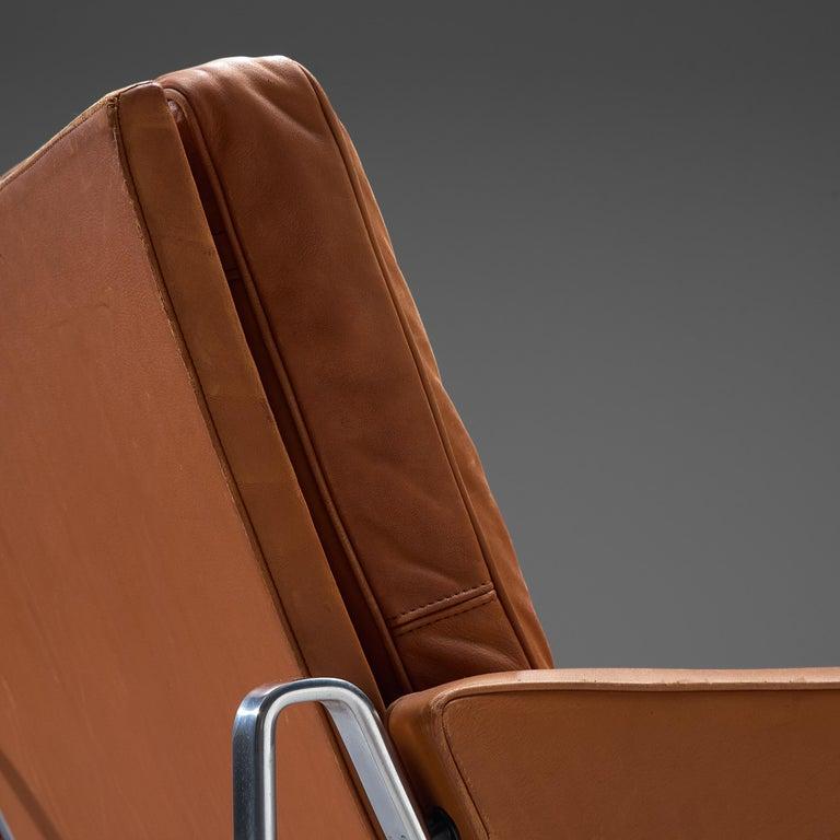 Scandinavian Modern Jørgen Kastholm & Preben Fabricius Cognac Leather Sofa with Steel Frame For Sale