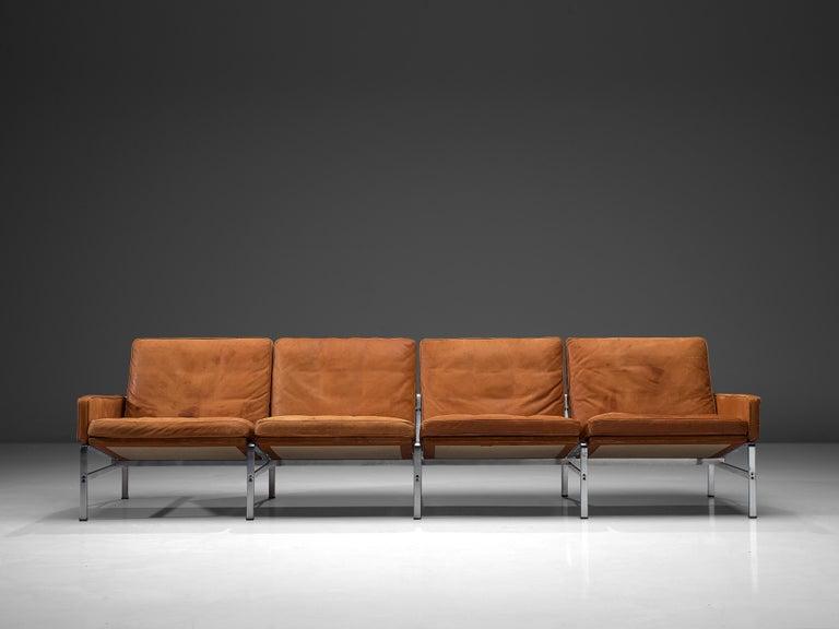 Danish Jørgen Kastholm & Preben Fabricius Cognac Leather Sofa with Steel Frame For Sale