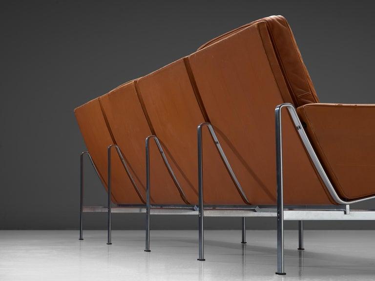 Brushed Jørgen Kastholm & Preben Fabricius Cognac Leather Sofa with Steel Frame For Sale