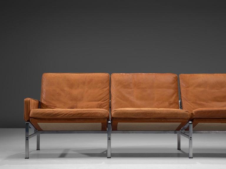 Jørgen Kastholm & Preben Fabricius Cognac Leather Sofa with Steel Frame In Good Condition For Sale In Waalwijk, NL
