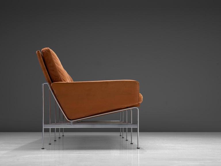 Mid-20th Century Jørgen Kastholm & Preben Fabricius Cognac Leather Sofa with Steel Frame For Sale