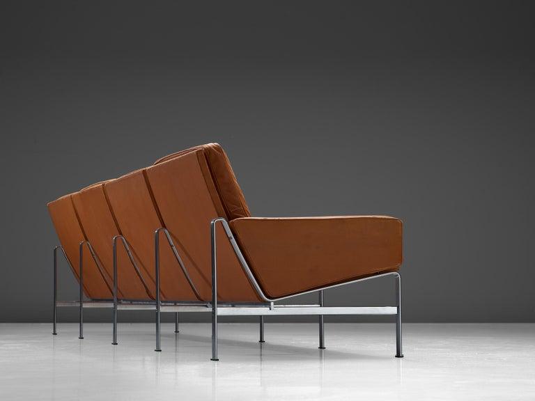 Jørgen Kastholm & Preben Fabricius Cognac Leather Sofa with Steel Frame For Sale 1