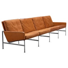 Jørgen Kastholm & Preben Fabricius Cognac Leather Sofa with Steel Frame