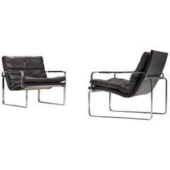 Jørgen Lund & Ole Larsen Pair of Easy Chairs in Dark Brown Leather