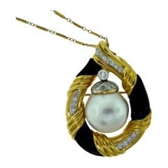 JS Signed Antique South Sea Pearl, Onyx, and Diamond Necklace/Pendant, Brooch