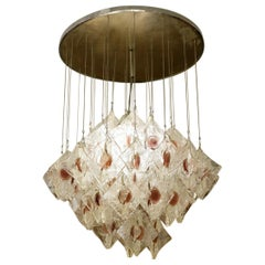 JT Kalmar Chandelier with Clear and Lavender Glass Pendants, circa 1960
