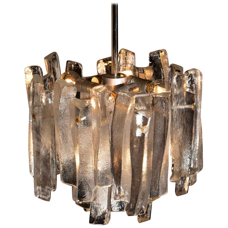 Mid-Century Modern J.T. Kalmar Design Chandelier with Frosted Glass Elements, 1970s For Sale