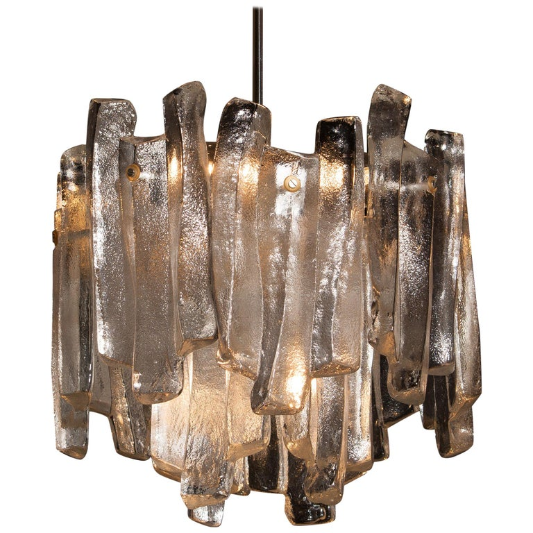 Austrian J.T. Kalmar Design Chandelier with Frosted Glass Elements, 1970s For Sale