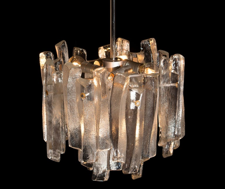 Late 20th Century J.T. Kalmar Design Chandelier with Frosted Glass Elements, 1970s For Sale