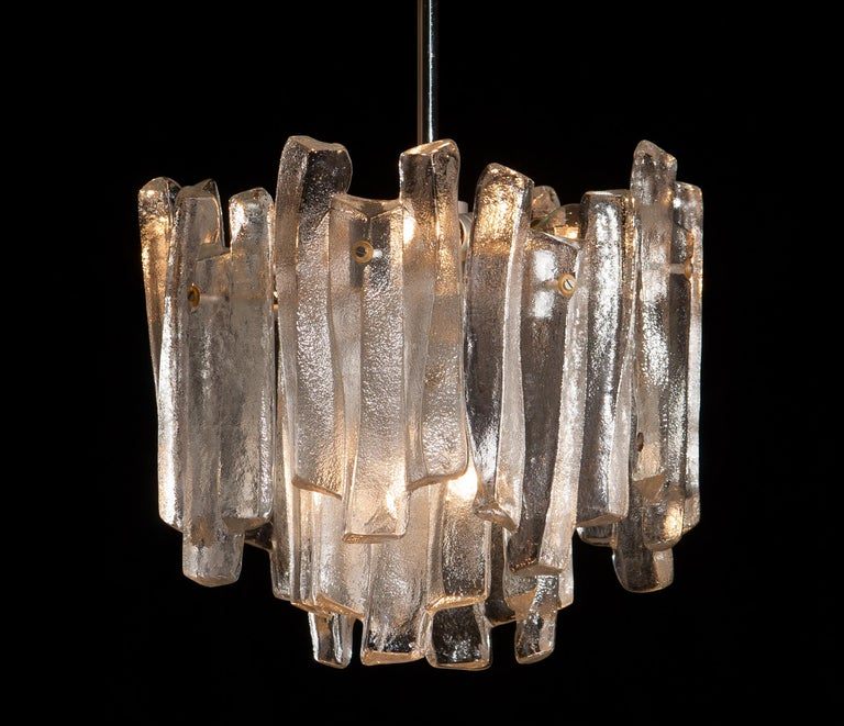 J.T. Kalmar Design Chandelier with Frosted Glass Elements, 1970s For Sale 1