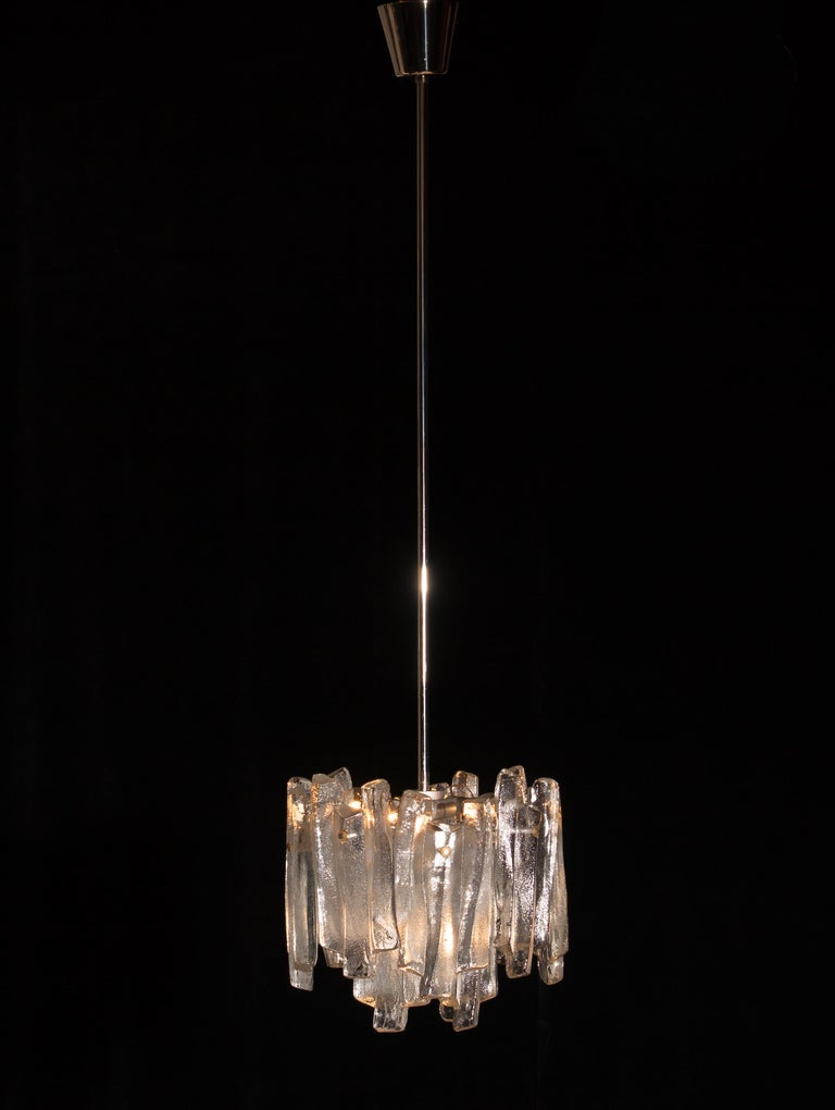J.T. Kalmar Design Chandelier with Frosted Glass Elements, 1970s For Sale 2