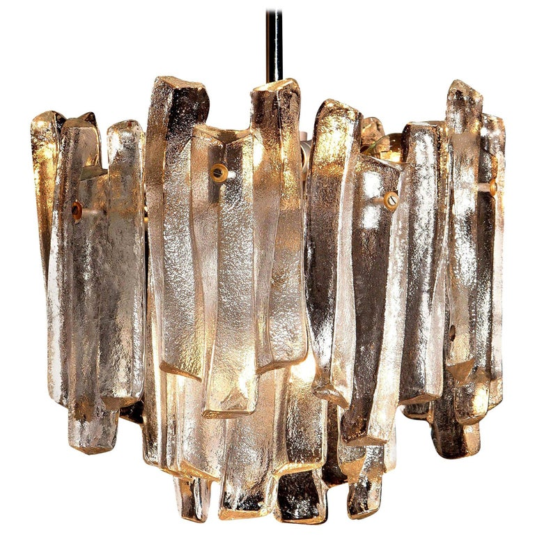 J.T. Kalmar Design Chandelier with Frosted Glass Elements, 1970s For Sale
