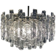 J.T. Kalmar 'Ice Glass' Chandelier, 1960s, Large Size with Thirteen Lamp Sockets