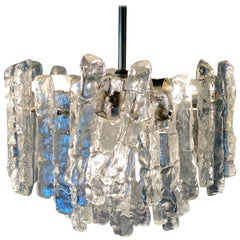 J.T. Kalmar 'Ice Glass' Chandelier, 1960s, Middel Size with Six Lamp Sockets